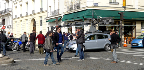 Filminspleningen av Red 2 i Paris.